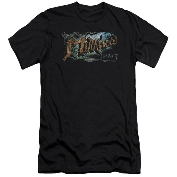 Hobbit/Greetings From Mirkwood Short Sleeve Adult T-Shirt 30/1 in Black