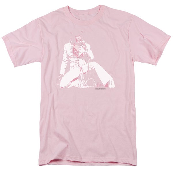 Elvis/Please Love Me Short Sleeve Adult T-Shirt 18/1 in Hot Pink