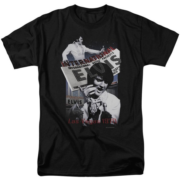 Elvis/International Hotel Short Sleeve Adult T-Shirt 18/1 in Black