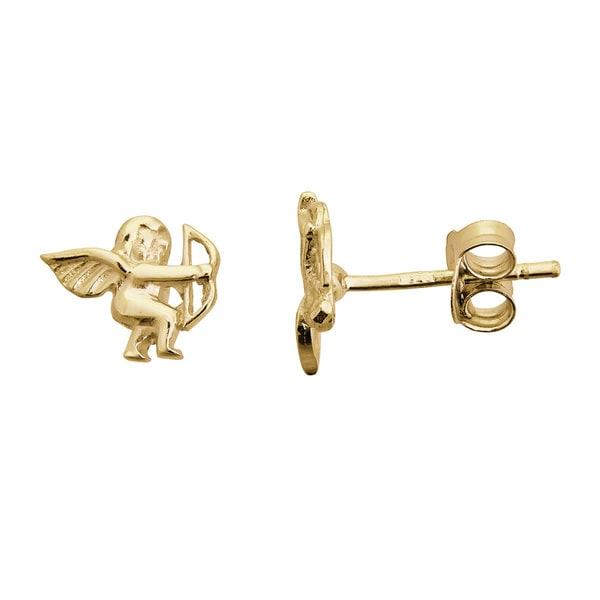 14k Yellow Gold Classic Cupid Stud Earrings