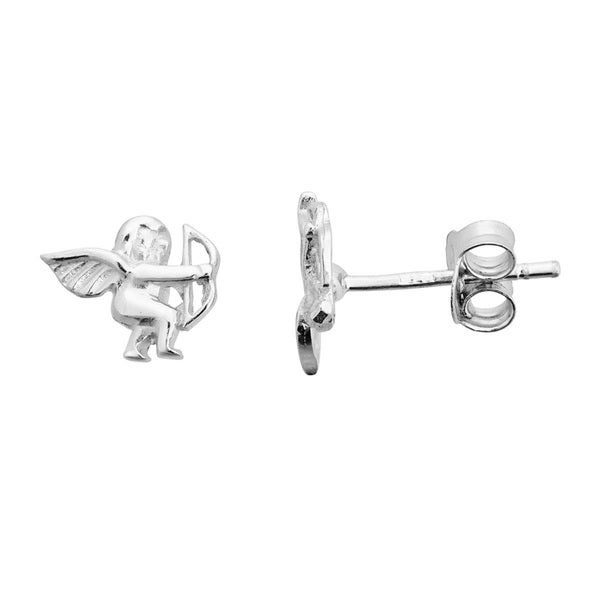 Sterling Silver Classic Cupid Stud Earrings