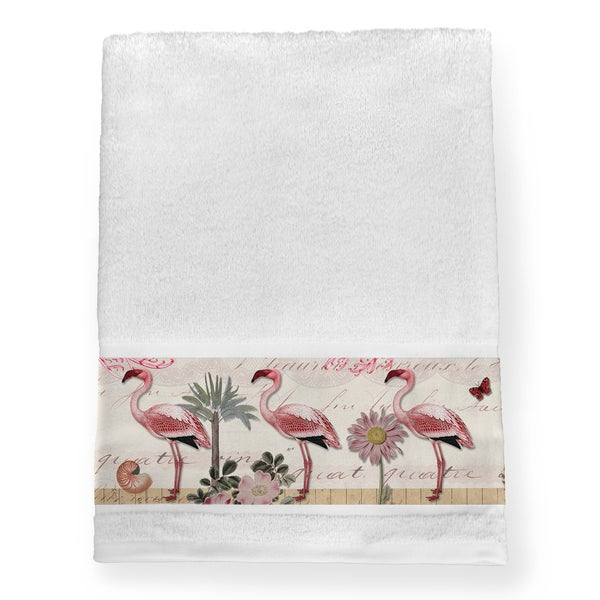 Laural Home Pink Cotton Tropical Flamingo Bath Towel