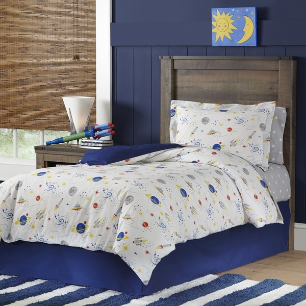 Lullaby Bedding Space Collection Cotton Printed 3-piece Duvet Set