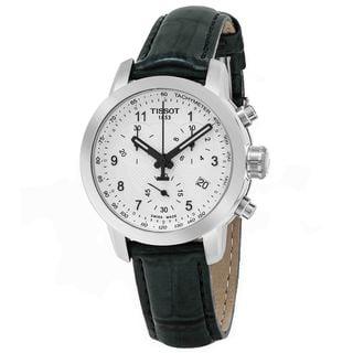 Tissot Women's T055.217.16.032.02 'PR 100' Silver Dial Grey Leather Strap Chronograph Swiss Quartz Watch