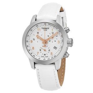 Tissot Women's T055.217.16.032.01 'PR 100' Silver Dial White Leather Strap Chronograph Swiss Quartz Watch