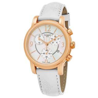Tissot Women's T050.217.37.117.00 'Dress Port' Mother of Pearl Dial White Floral Strap Rose Goldtone Chrono Swiss Quartz Watch