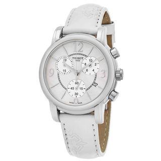 Tissot Women's T050.217.17.117.00 'Dress Port' Mother of Pearl Dial White Floral Strap Chronograph Swiss Quartz Watch