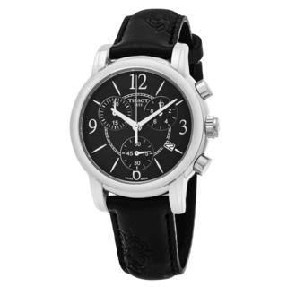 Tissot Women's T050.217.17.057.00 'Dress Port' Black Dial Black Floral Strap Chronograph Swiss Quartz Watch