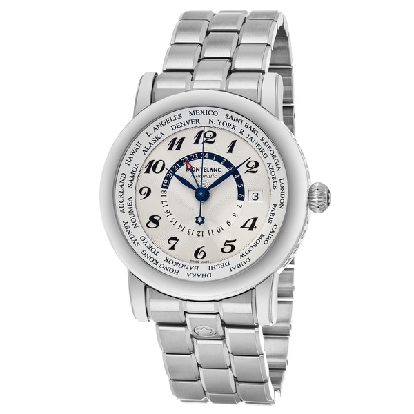 Mont Blanc Men's 106465 'Star' Silver Dial Stainless Steel Bracelet World cities GMT Swiss Automatic Watch