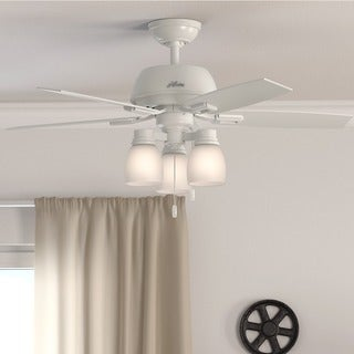 "Hunter 44"" Donegan Ceiling Fan with LED Light Kit and Pull Chain - White"