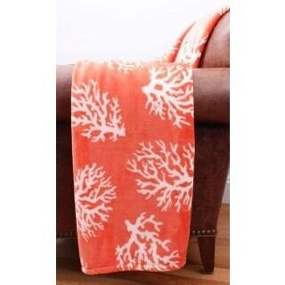 Thro by Marlo Lorenz Kalvin Coral Velvet Plush Decorative Throw