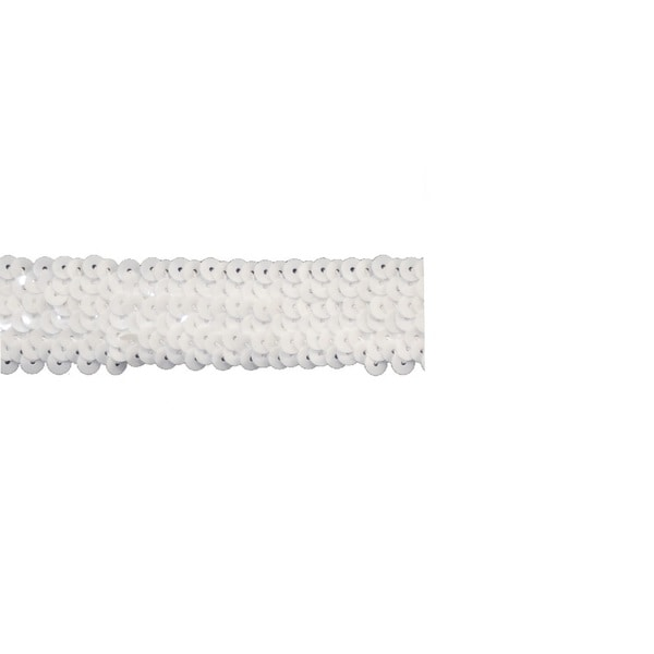 White Stretch 1.5-inch Sequin Trim