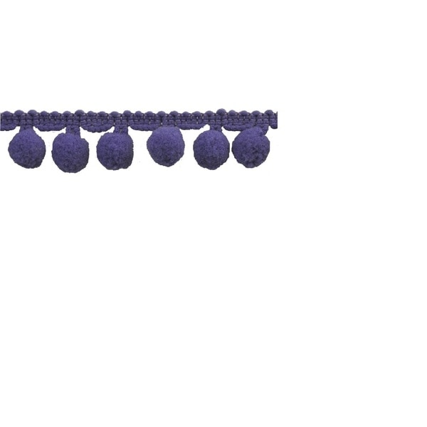 Purple Polyester 10-yard 1-inch Pom-pom Trim Reel