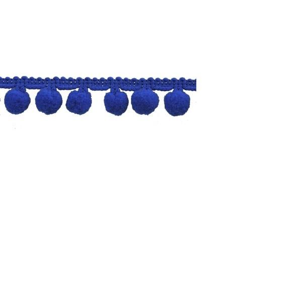 Royal Blue Polyester 10-yard 1-inch Pom-pom Trim Reel