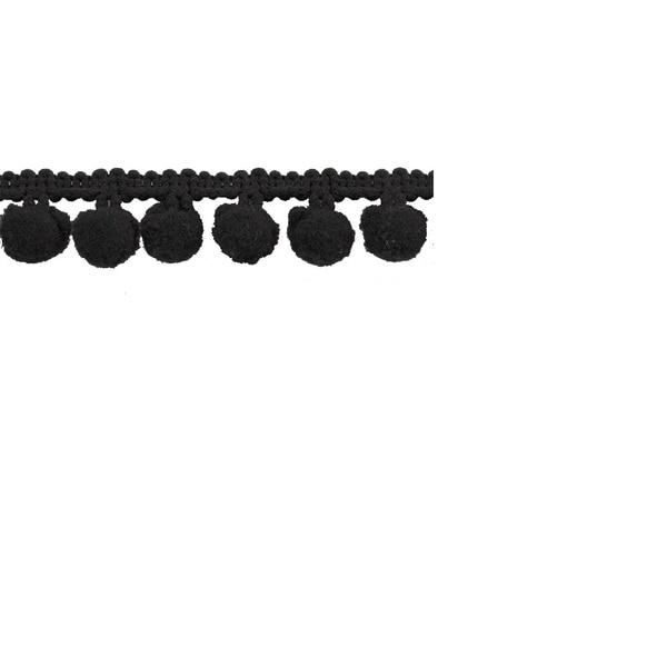 Black Polyester 1-inch Pom-pom Trim