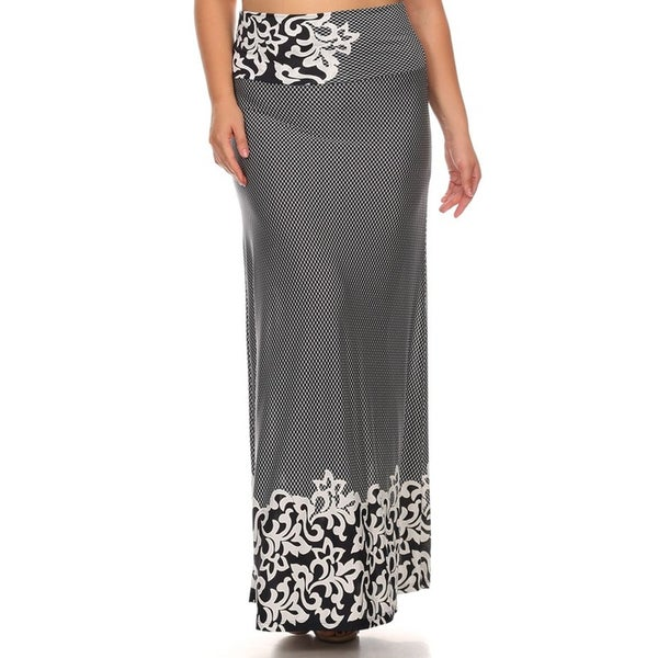 Plus Size Black Polyester-blended Paisley Maxi Skirt