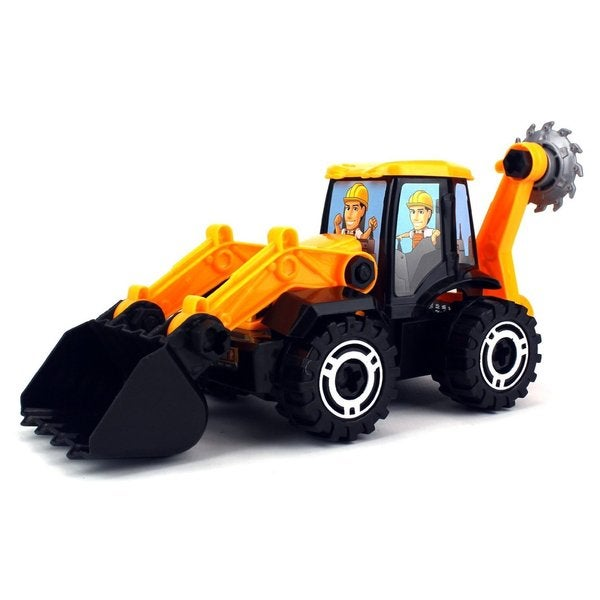 Veloctiy Toys Black/Yellow Plastic Construction Bulldozer Toy Truck