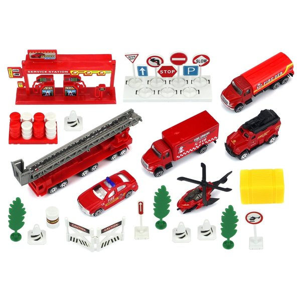 Velocity Toys Urban Fire Rescue Red Plastic/Metal Vehicle Playset