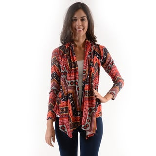 Women's Red Polyester/Spandex Cardigan