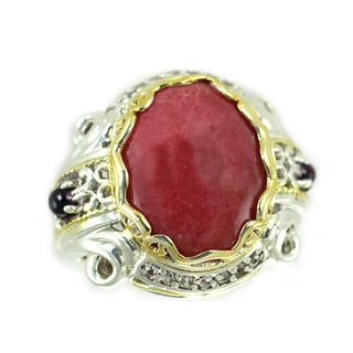 One-of-a-kind Michael Valitutti Rhodochrosite with Amethyst and White Sapphire Ring