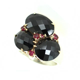 One-of-a-kind Michael Valitutti Check Top Black Onyx with Rubellite Ring