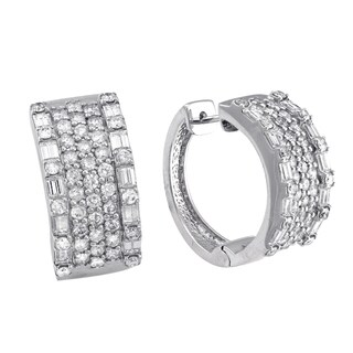 Beverly Hills Charm 14K White Gold 2 1/5 ct TDW Diamond Wide Hoop Earrings (H-I, I1-I2)