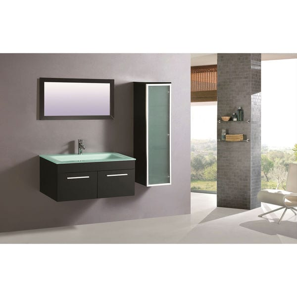 Legion Furniture Frosted Tempered Glass 31.5-inch Single Sink Bathroom Vanity With Mirror and Side Cabinet