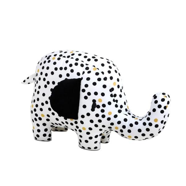 Farallon The Peanut Shell Black/White/Goldtone Cotton Safari Elephant Plush Toy 20222553