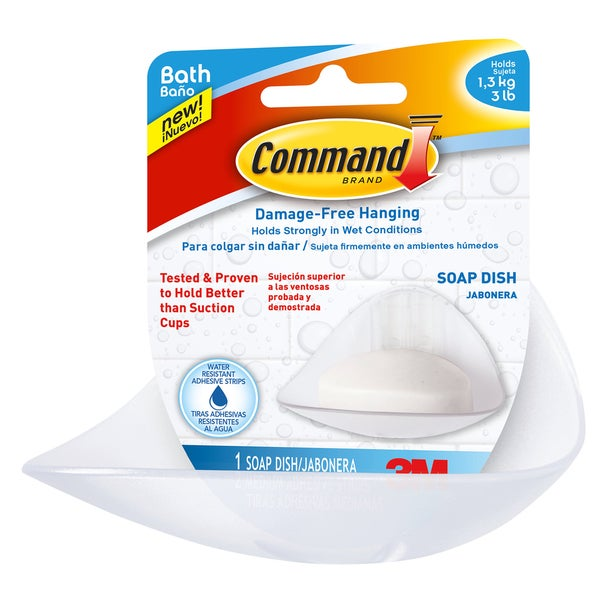 Command Strips BATH14-ES Command Soap Dish With Water-Resistant Strips 20222683