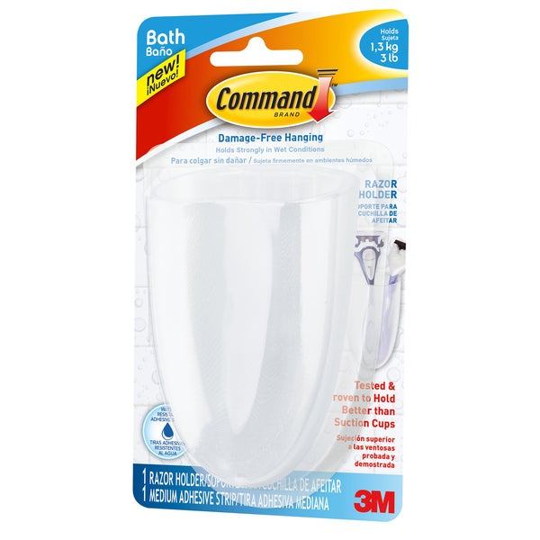 Command Strips BATH16-ES Command Razor Holder With Water-Resistant Strips 20222695
