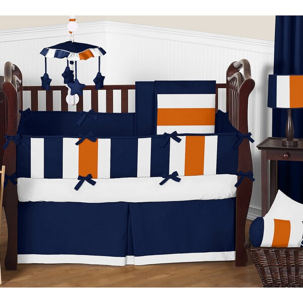 Sweet Jojo Designs Navy Blue and Orange Stripe 9-piece Crib Bedding Set