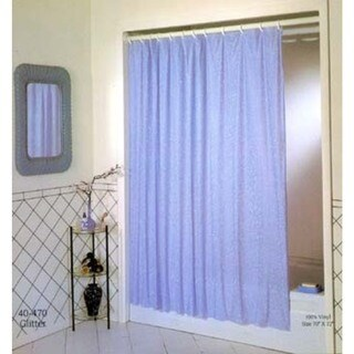 "Excell 1ME-40O-470-100 70"" X 72"" White Luxury Glitter Vinyl Shower Curtain"