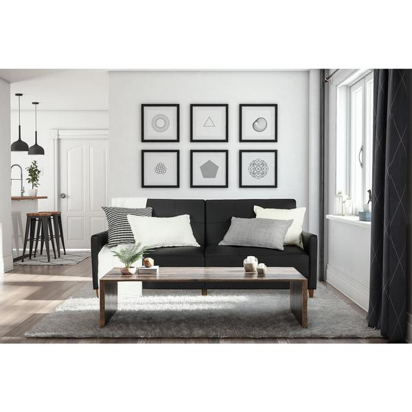 DHP Andora Black Faux Leather Coil Futon