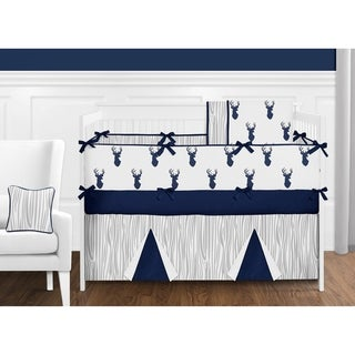 Sweet Jojo Designs 9-piece Boy Crib Bedding Set for the Navy and White Woodland Deer Collection