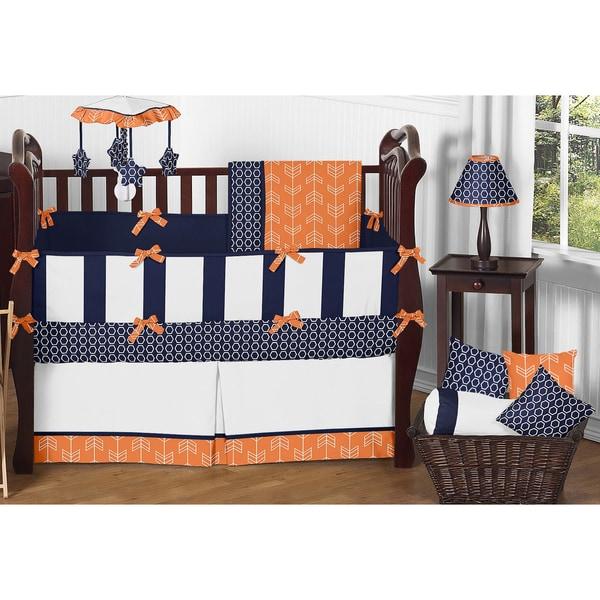 Sweet jojo designs arrow collection orange and navy blue - Navy blue and orange bedding ...