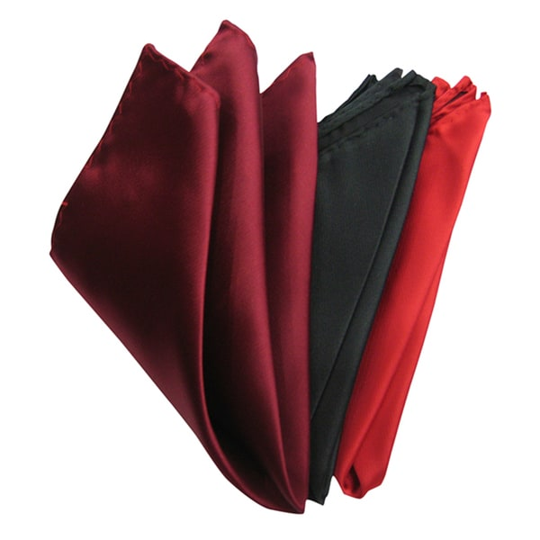 Dmitry Men's Assorted Color Italian Silk Pocket Squares (Pack of 3)