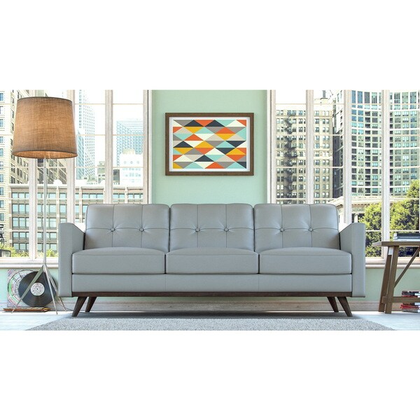Monika Grey Top Grain Leather Sofa