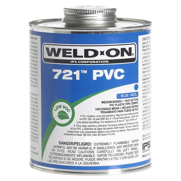 Ips Weldon 10163 1/2 Pint Blue 721 PVC Cement