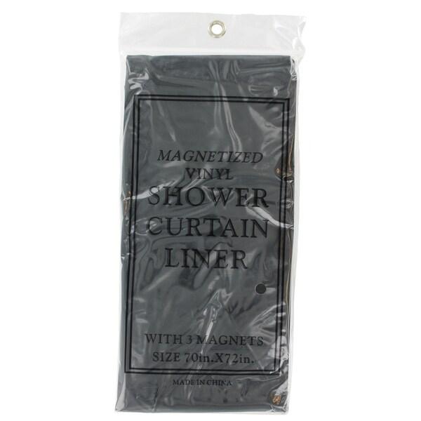 J & M Home Fashions 7608 Black Magnetic Shower Liner