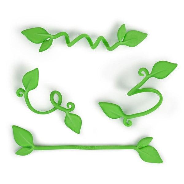 Fred & Friends Yard Goods Pack of 8 Green Plastic Leaf Ties