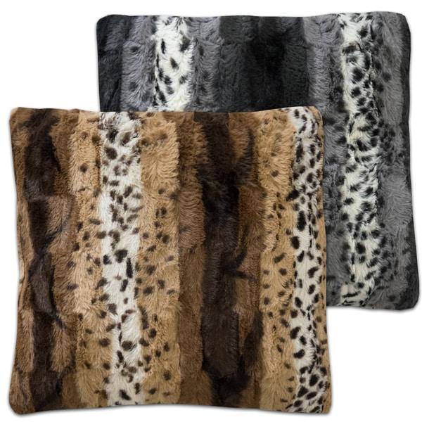 Stephanie Black/Brown Faux Fur Decorative Throw Pillow Pair