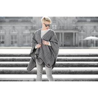 Pure Cotton Houndstooth Blanket Poncho