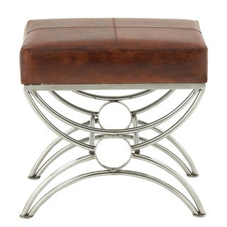 Urban Designs Benjamin Brown Leather/Steel Ottoman