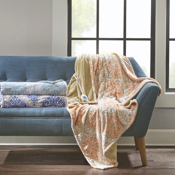 Beautyrest Sydney Printed Berber Reverse Heated Throw 3-Color Options