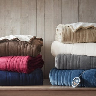 Woolrich Heated Plush to Berber Blanket 7-Color Options