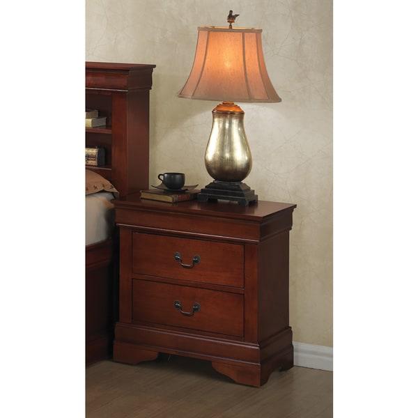 Brown Veneer 2-drawer Nightstand With Antique Brass Handles