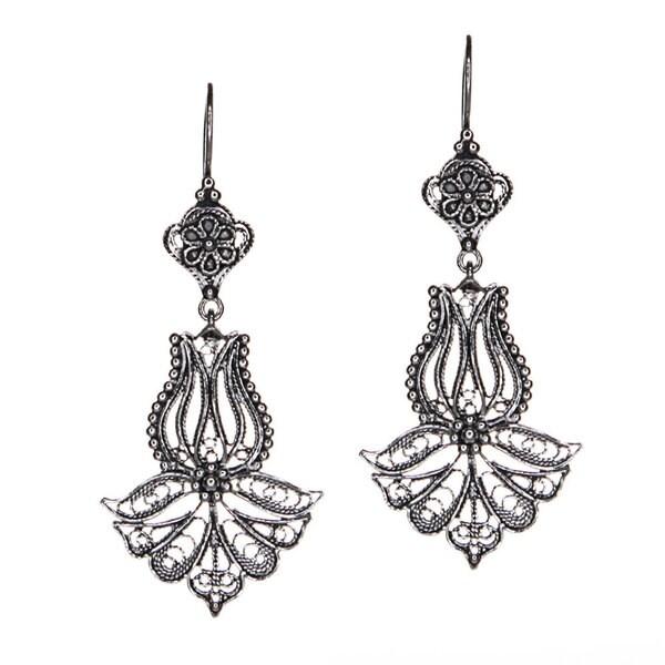 Sterling Silver Filigree Tulip Drop Earrings