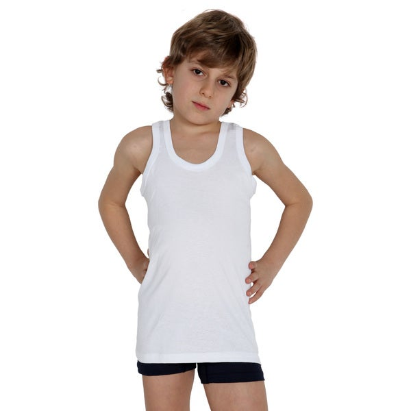 Boy's White Cotton Tank Top