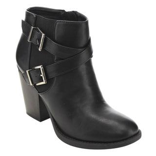Soda FD23 Women's Faux Leather Crisscross Buckle Strap Ankle Booties