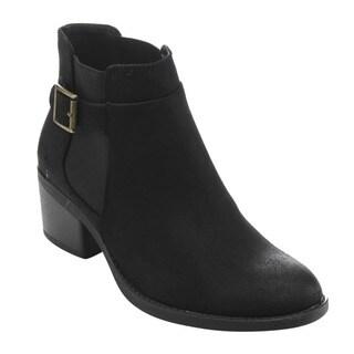 QUPID FD08 Women's Retro Buckle-strap Ankle-high Low-block Heel Boots